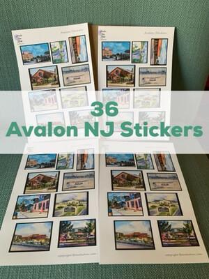 Avalon NJ Watercolor Stickers