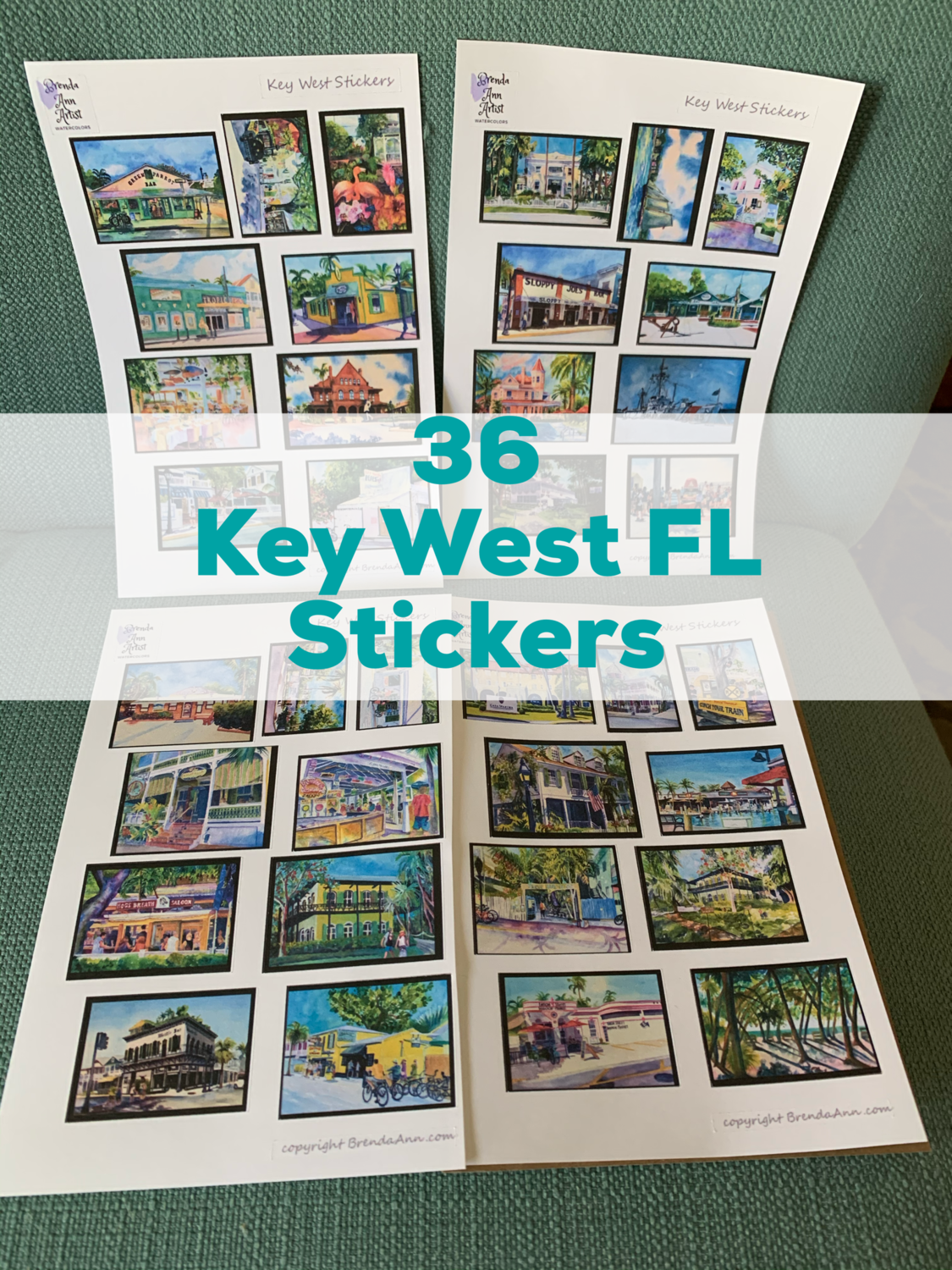 Key West Watercolor Stickers