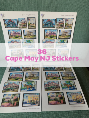 Cape May NJ Watercolor Stickers