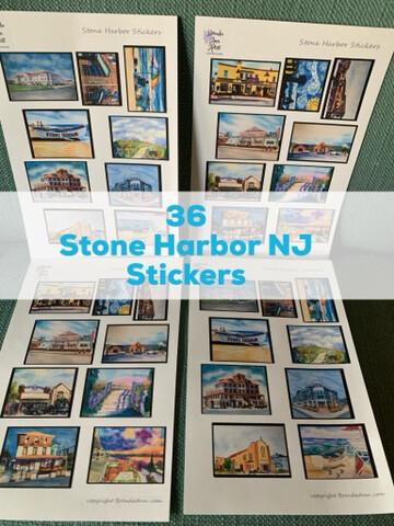 Stone Harbor NJ Watercolor Stickers