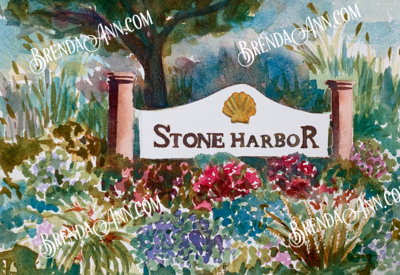 Stone Harbor Welcome Sign in Stone Harbor, NJ - Hand Signed Archival Watercolor Print