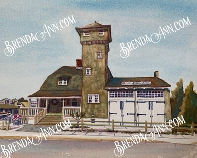 Tatham Life Saving Station and Museum in Stone Harbor, NJ - Hand Signed Archival Watercolor Print