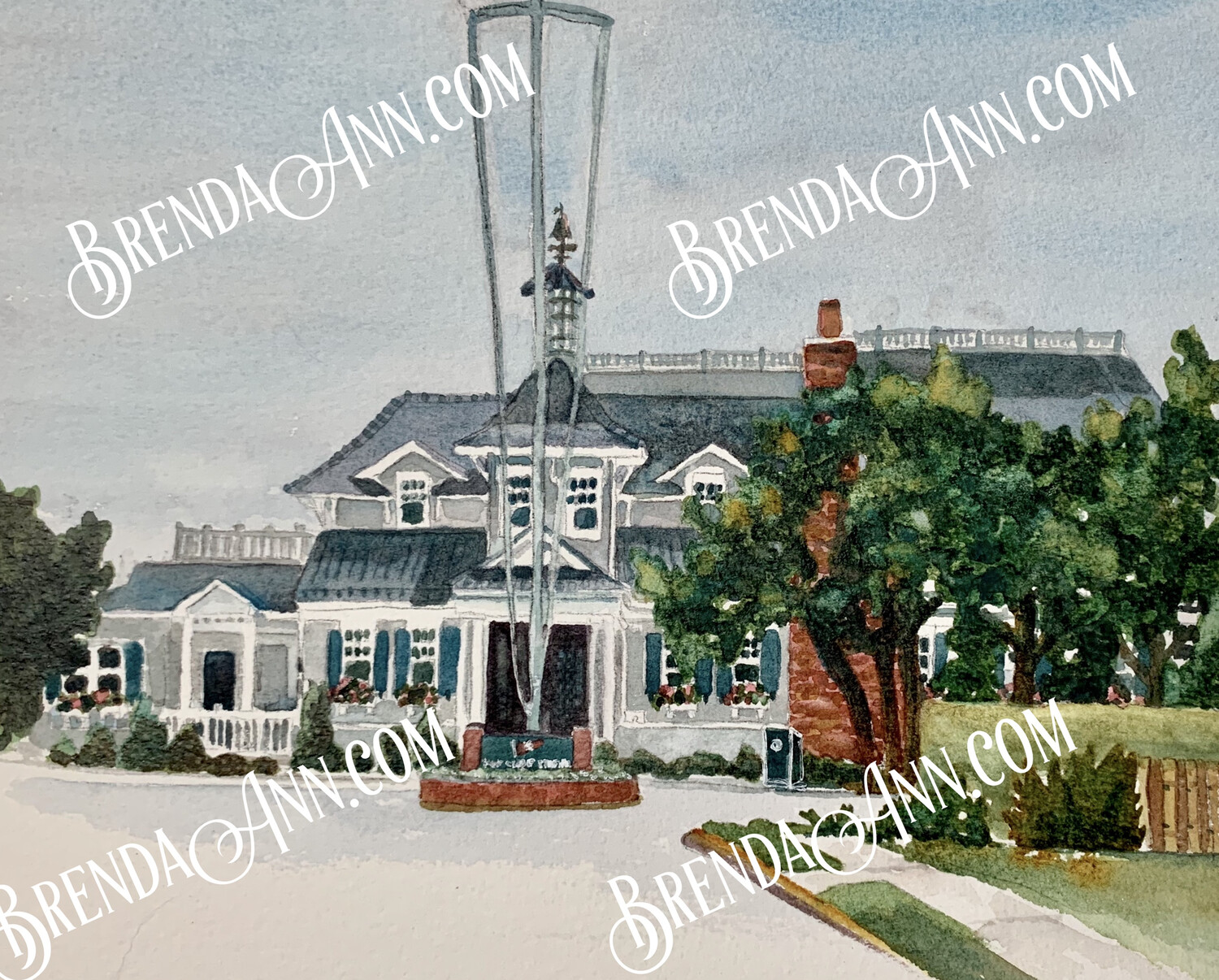 Yacht Club of Stone Harbor in Stone Harbor, NJ - Hand Signed Archival Watercolor Print
