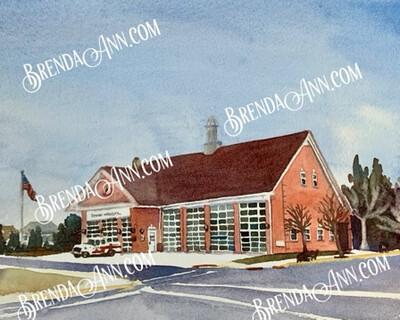 Stone Harbor Firehouse in Stone Harbor NJ - Hand Signed Archival Watercolor Print