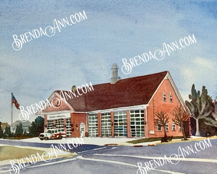 Stone Harbor Firehouse in Stone Harbor NJ - Hand Signed Archival Watercolor Print