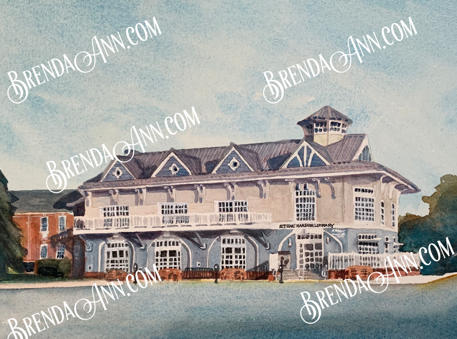 Stone Harbor Library in Stone Harbor, NJ - Hand Signed Archival Watercolor Print