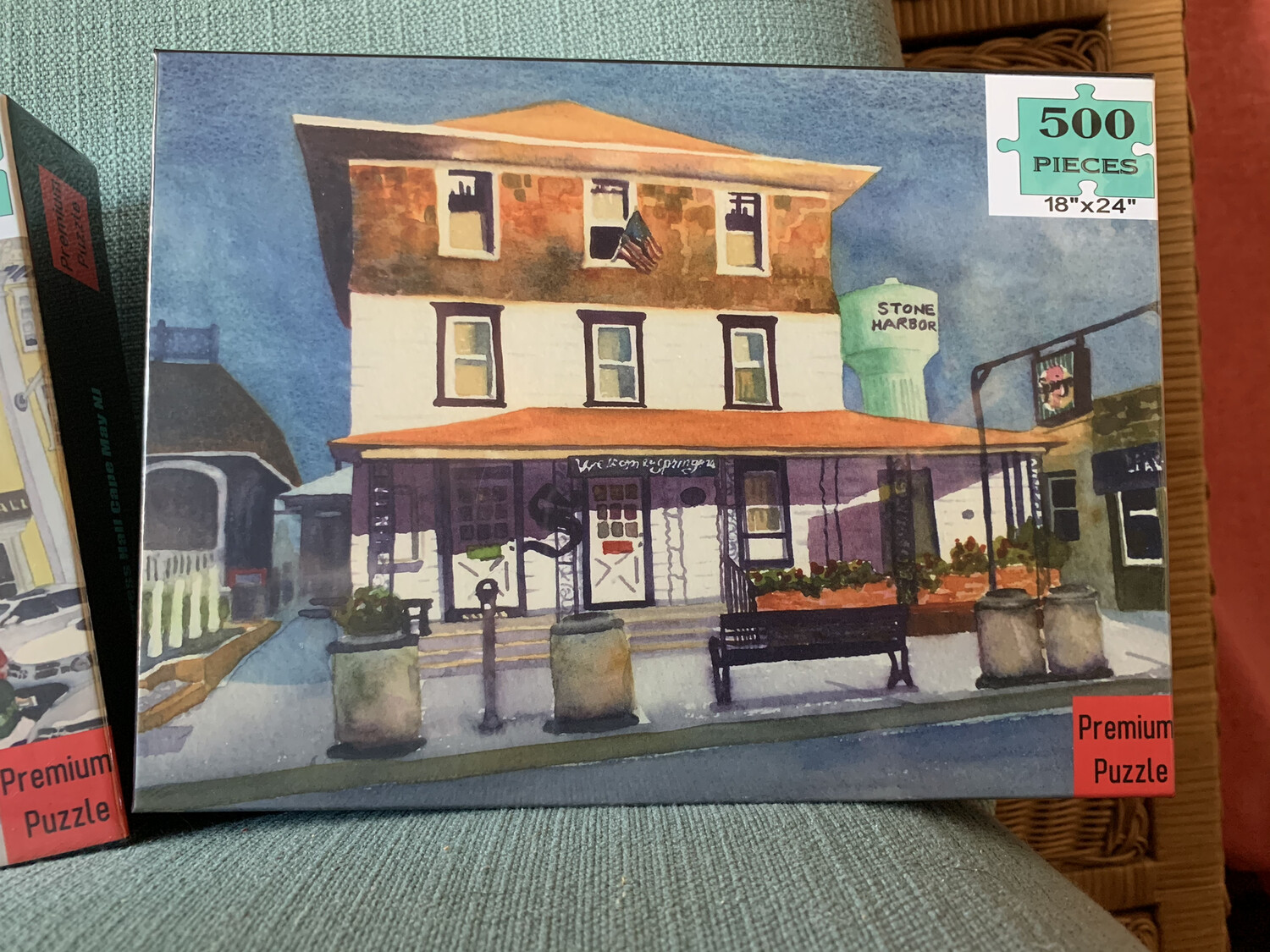 """PUZZLE - 500 Piece Springer's Ice Cream Stone Harbor New Jersey Puzzle - Watercolor art by Brenda Ann - Assembled size 18""""x24"""""""