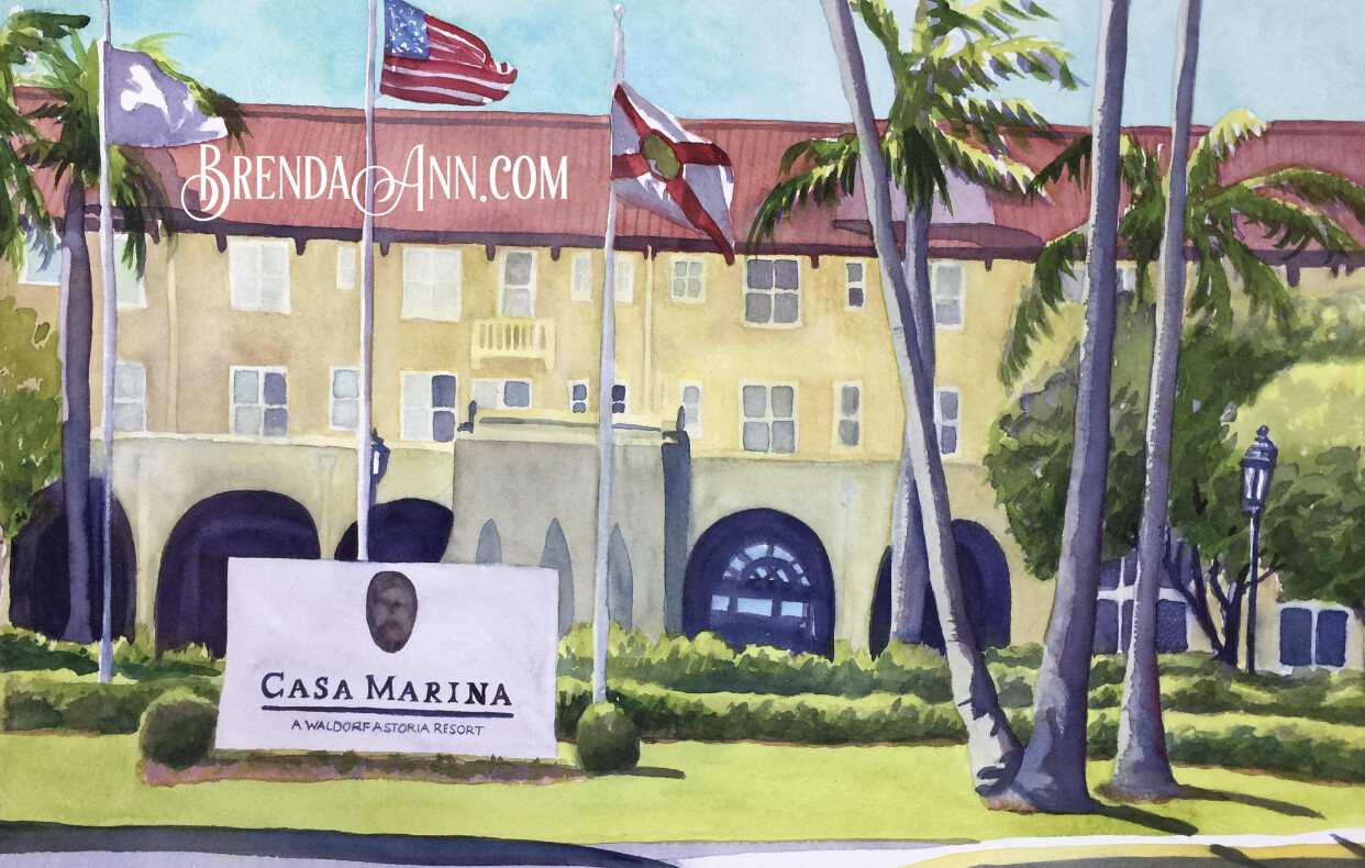 """PUZZLE - 500 Piece Casa Marina Key West Florida Keys Puzzle - Watercolor artwork designed by Brenda Ann - Assembled size 18""""x24"""" - Special Order - Allow 3 Weeks"""