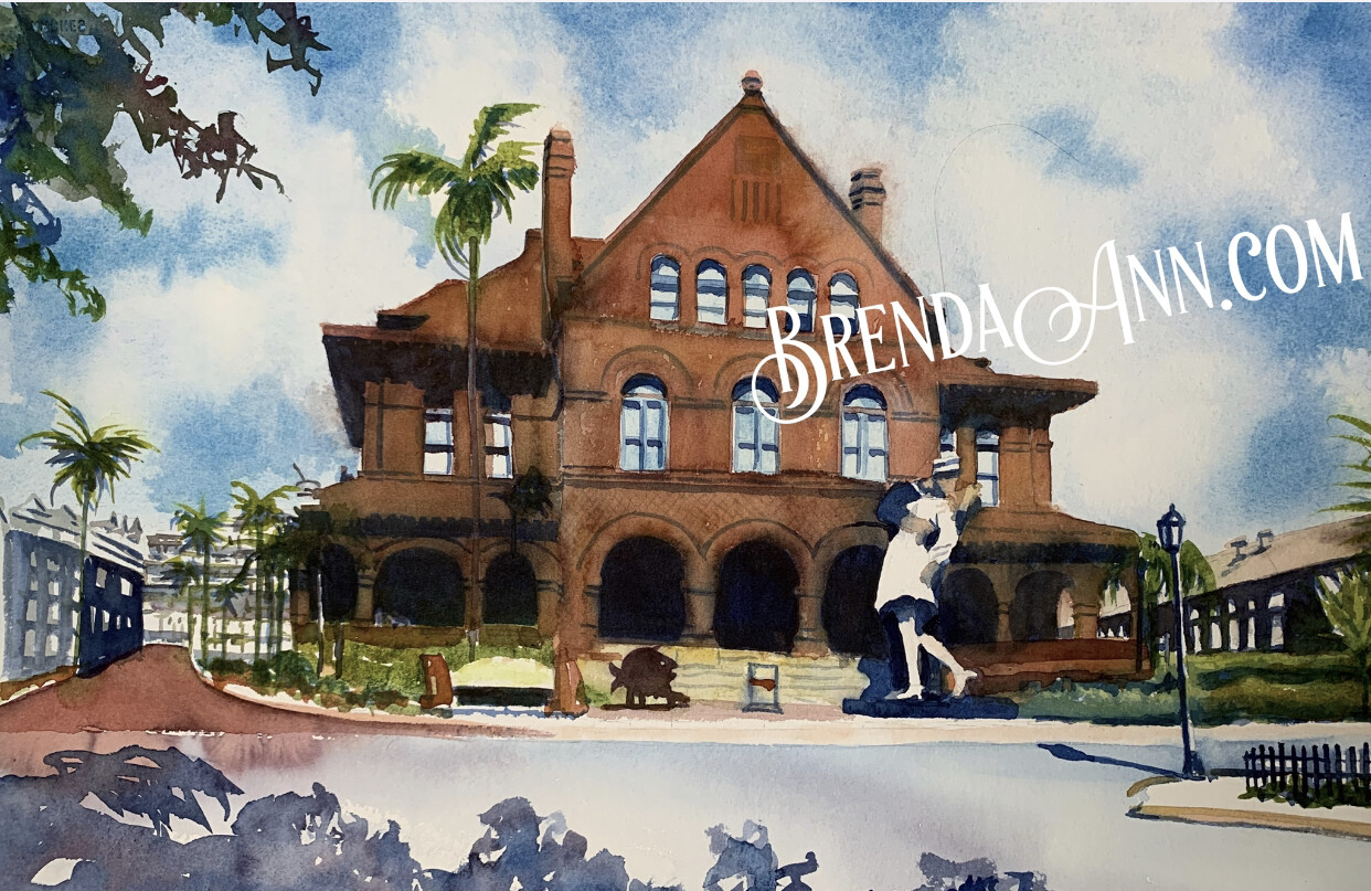 "PUZZLE - 500 Piece Custom House Key West Florida Keys Puzzle - Watercolor artwork designed by Brenda Ann - Assembled size 18""x24"" - Special Order - Allow 3 Weeks"