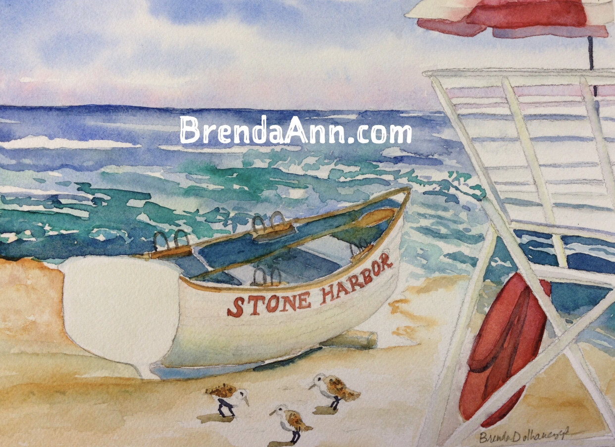 "Stone Harbor Puzzle - 500 Piece Puzzle - Lifeguard Boat on the Beach 18""x24"" - Pre-order - Allow 6 Weeks"