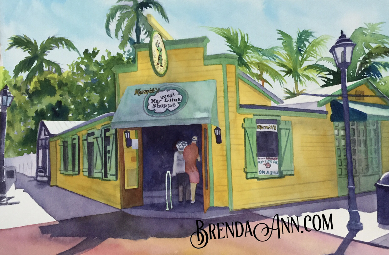 "PUZZLE - 500 Piece Kermit's Key West Lime Shoppe Key West Florida Keys Puzzle - Watercolor artwork designed by Brenda Ann - Assembled size 18""x24"" - Special Order - Allow 3 Weeks"