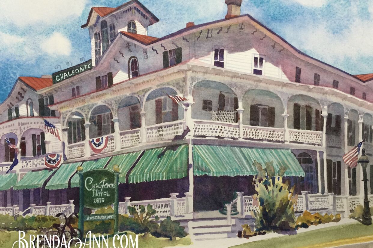 "PUZZLE - 500 Piece Chalfonte Hotel Cape May NJ Puzzle - Watercolor artwork designed by Brenda Ann - Assembled size 18""x24"" - Special Order - Allow 3 Weeks"