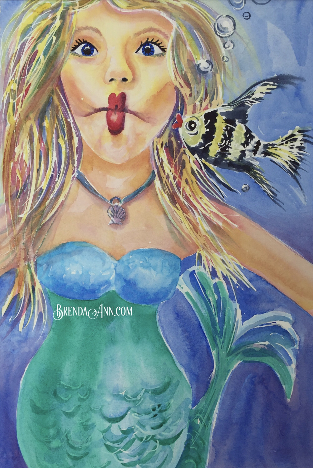 "Mermaid Puzzle - 500 Piece Kissy Fish Puzzle 18""x24""- Special Order Allow 6 Weeks"