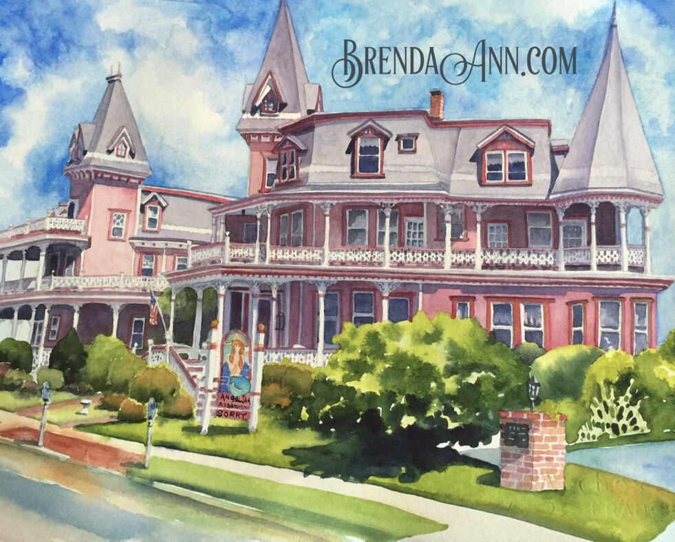 Angel of the Sea B&B in Cape May, NJ - Hand Signed Archival Watercolor Print
