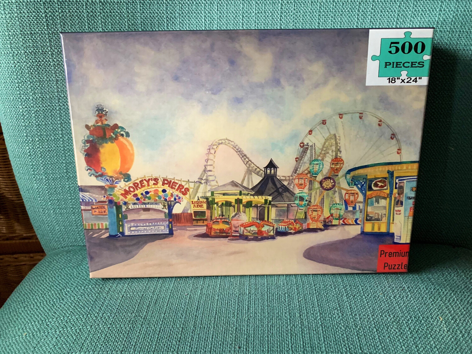 "PUZZLE - 500 Piece Wildwood NJ Morey's Piers on the Boardwalk Summer Puzzle 18""x24"""