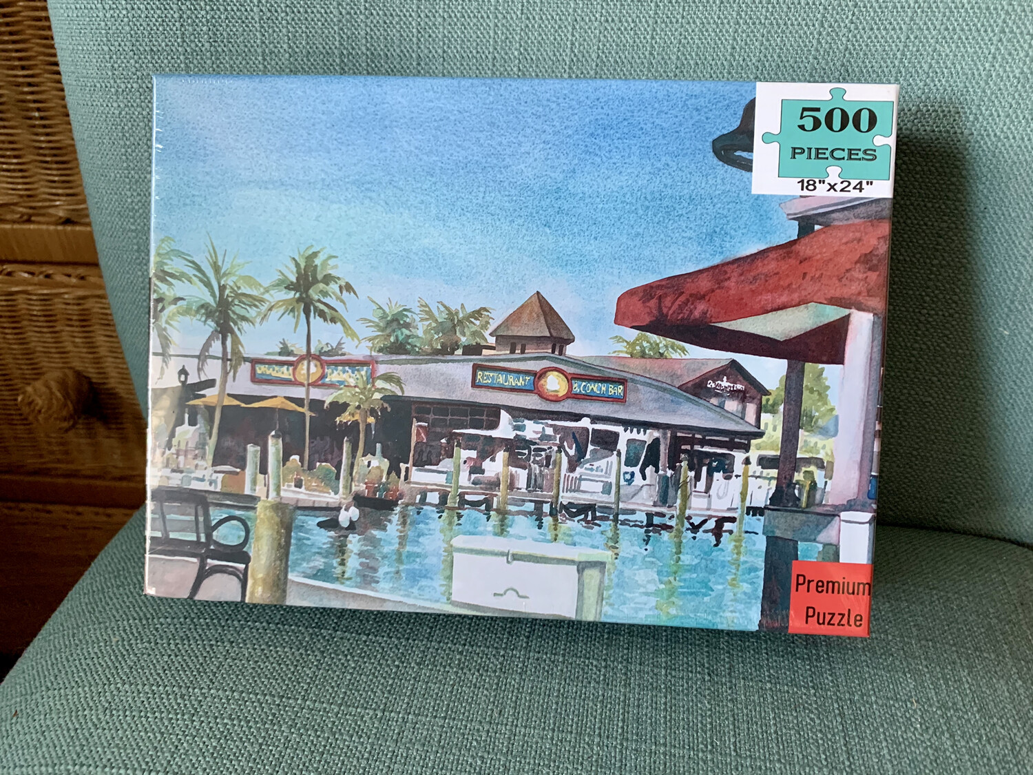 "PUZZLE - 500 Piece Conch Republic Seafood Company Key West Florida Keys Puzzle - Watercolor artwork designed by Brenda Ann - Assembled size 18""x24"""