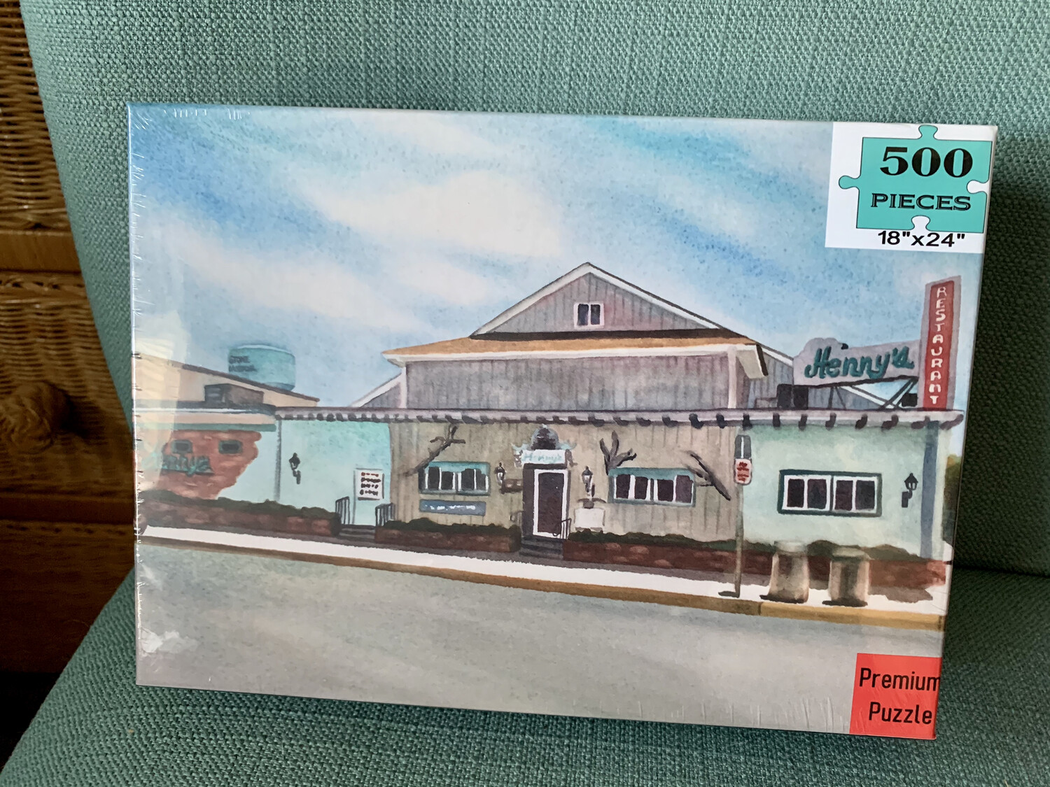 "PUZZLE - 500 Piece Henny's Restaurant Stone Harbor NJ Puzzle - Watercolor artwork designed by Brenda Ann - Assembled size 18""x24"""