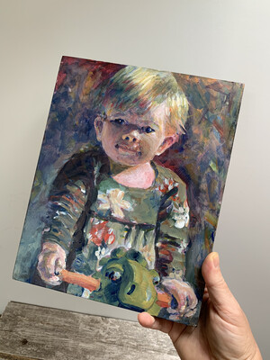 Custom Child's Portrait - 8x10 inch Acrylic or Oil Painting - Children's Portrait of Daughter Son Niece or Nephew Baby Newborn - Made To Order