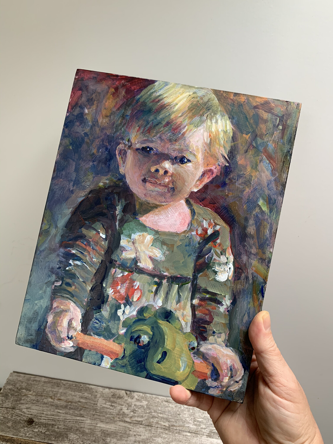 Custom Child's Portrait - 8x10 inch Acrylic Painting - Children's Portrait of Daughter Son Niece or Nephew Baby Newborn - Made To Order