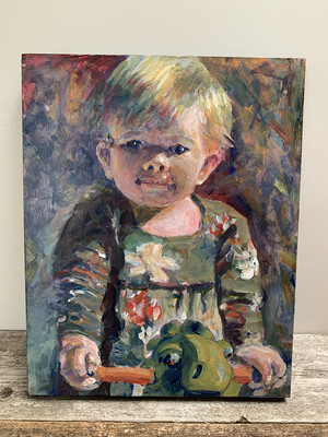Custom Child's Portrait - 16x20 inch Acrylic Painting - Children's Portrait of Daughter Son Niece or Nephew Baby Newborn - Made To Order