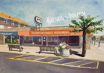 Marabella's Family Restaurant in Stone Harbor, NJ - Hand Signed Archival Watercolor Print