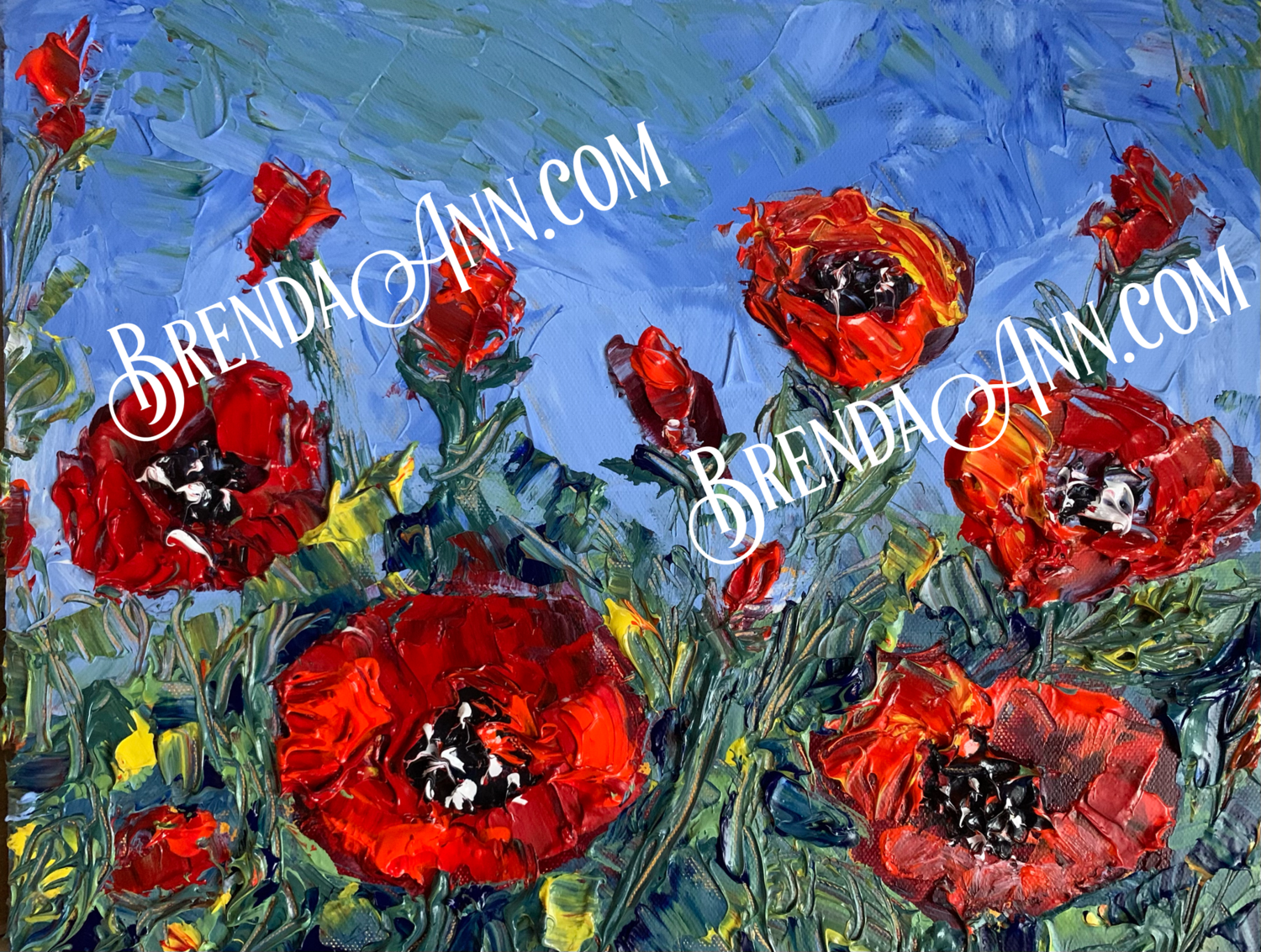 Red Poppies - Original - Thick Impasto Acrylic Painting on Canvas