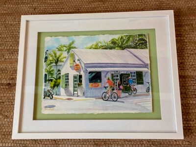 Old Town Bakery in Key West - Hand Signed FRAMED ORIGINAL Watercolor Wall Art by Brenda Ann
