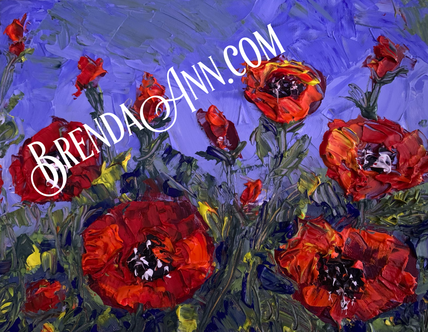 Red Poppies Floral Giclee Art Print - Red Poppy Flowers - Hand Signed Floral Archival Art Print
