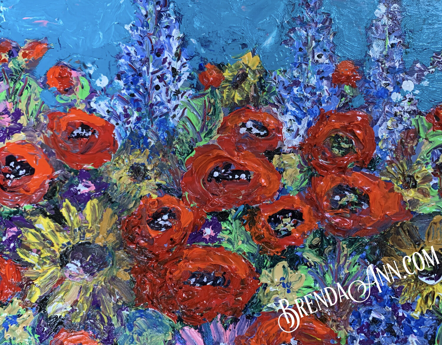Summer Garden with Red Poppies - Original - Thick Impasto Acrylic Painting on Canvas