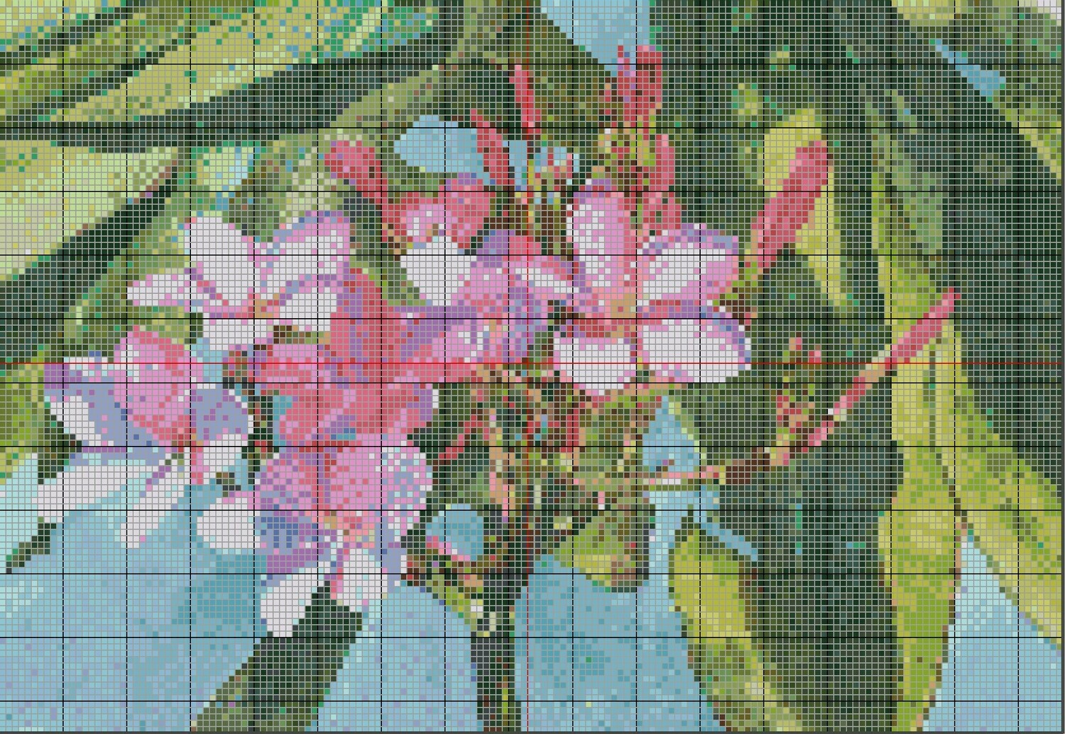 Beautiful Floral Cross Stitch - Pink Plumeria Frangipani Tropical Flowers - Pattern Only - Instant Digital Download