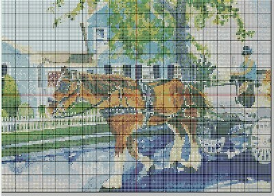 Beautiful Cape May NJ Horse & Carriage Cross Stitch - Pattern Only - Instant Digital Download
