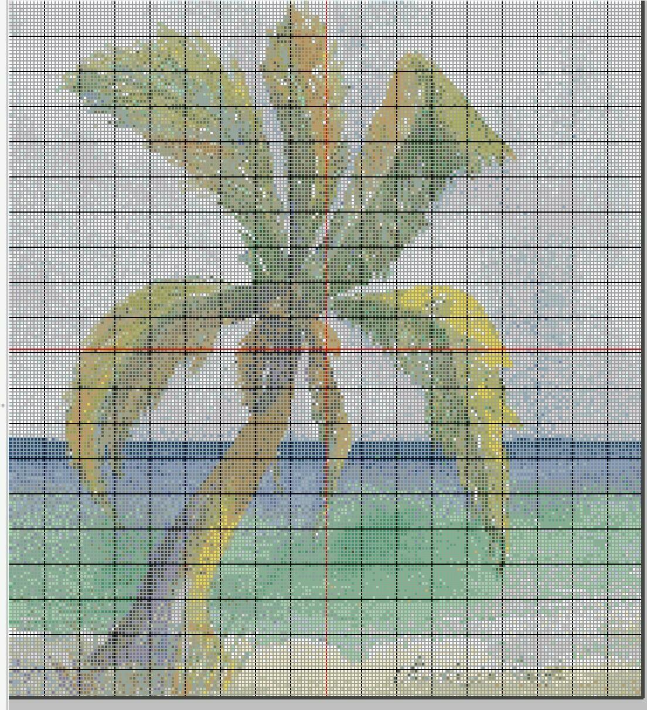 Beautiful Tropical Cross Stitch - Florida Keys Palm Tree - Pattern Only - Instant Digital Download