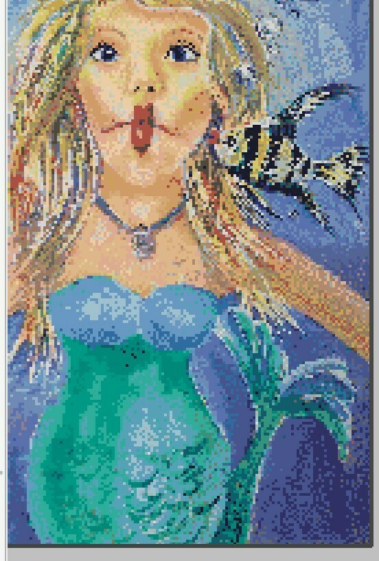 Fun Mermaid Cross Stitch - Kissy Fish - Pattern Only - Instant Digital Download