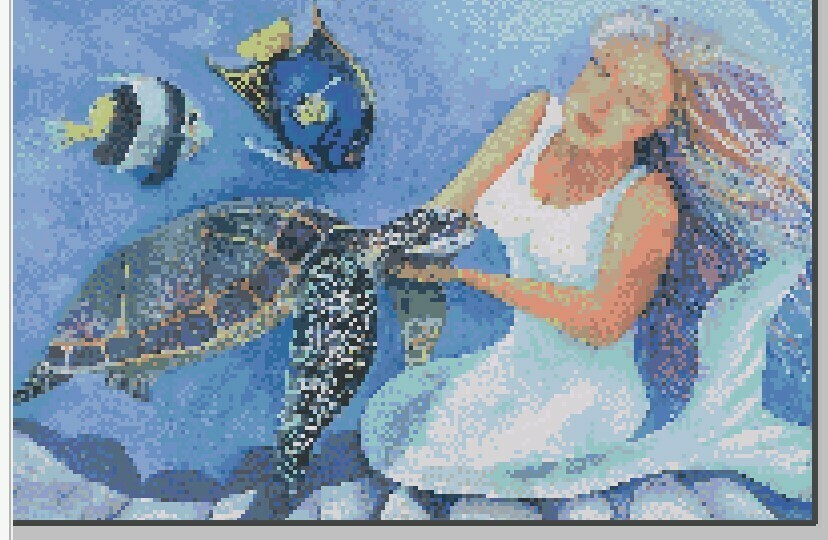 Mermaid & Turtle Cross Stitch - Pattern Only - Instant Digital Download