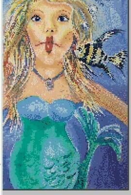 Fun Mermaid Cross Stitch - Kissy Fish - Pattern Only - Instant Digital Download