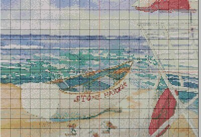 Beachy Stone Harbor NJ Lifeguard Boat Cross Stitch - Pattern Only - Instant Digital Download
