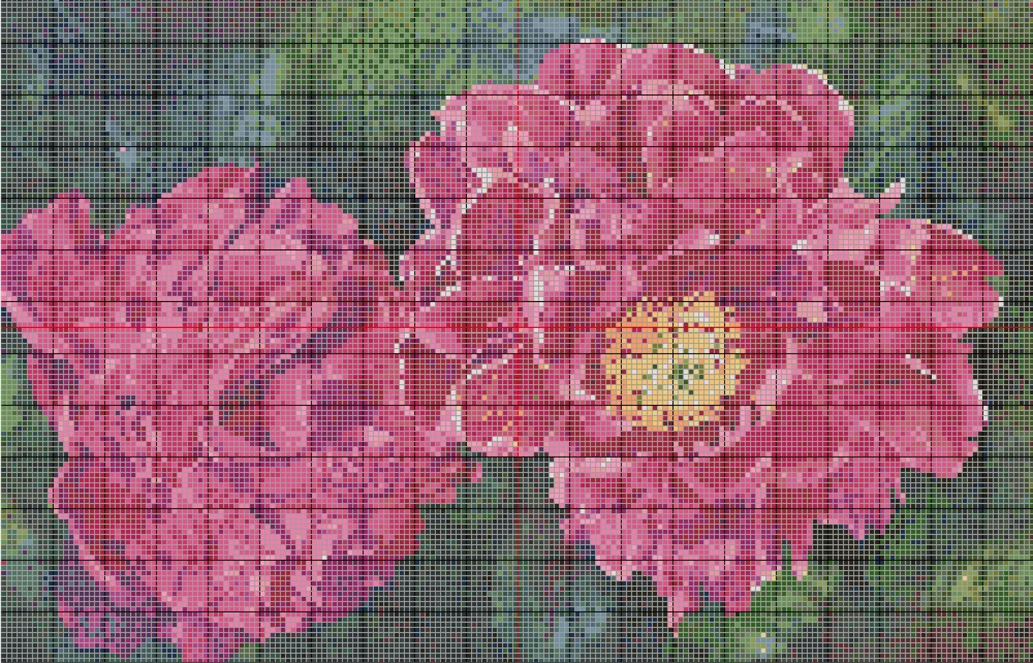 Beautiful Floral Cross Stitch - Pink Peonies - Pattern Only - Instant Digital Download