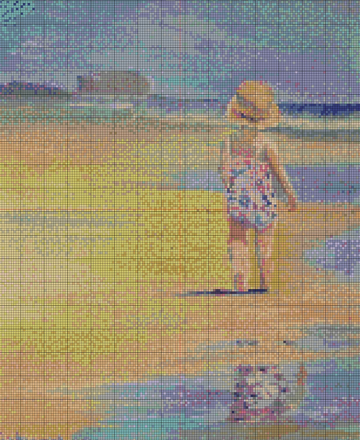 Child on the Beach Cross Stitch - Pattern Only - Instant Digital Download