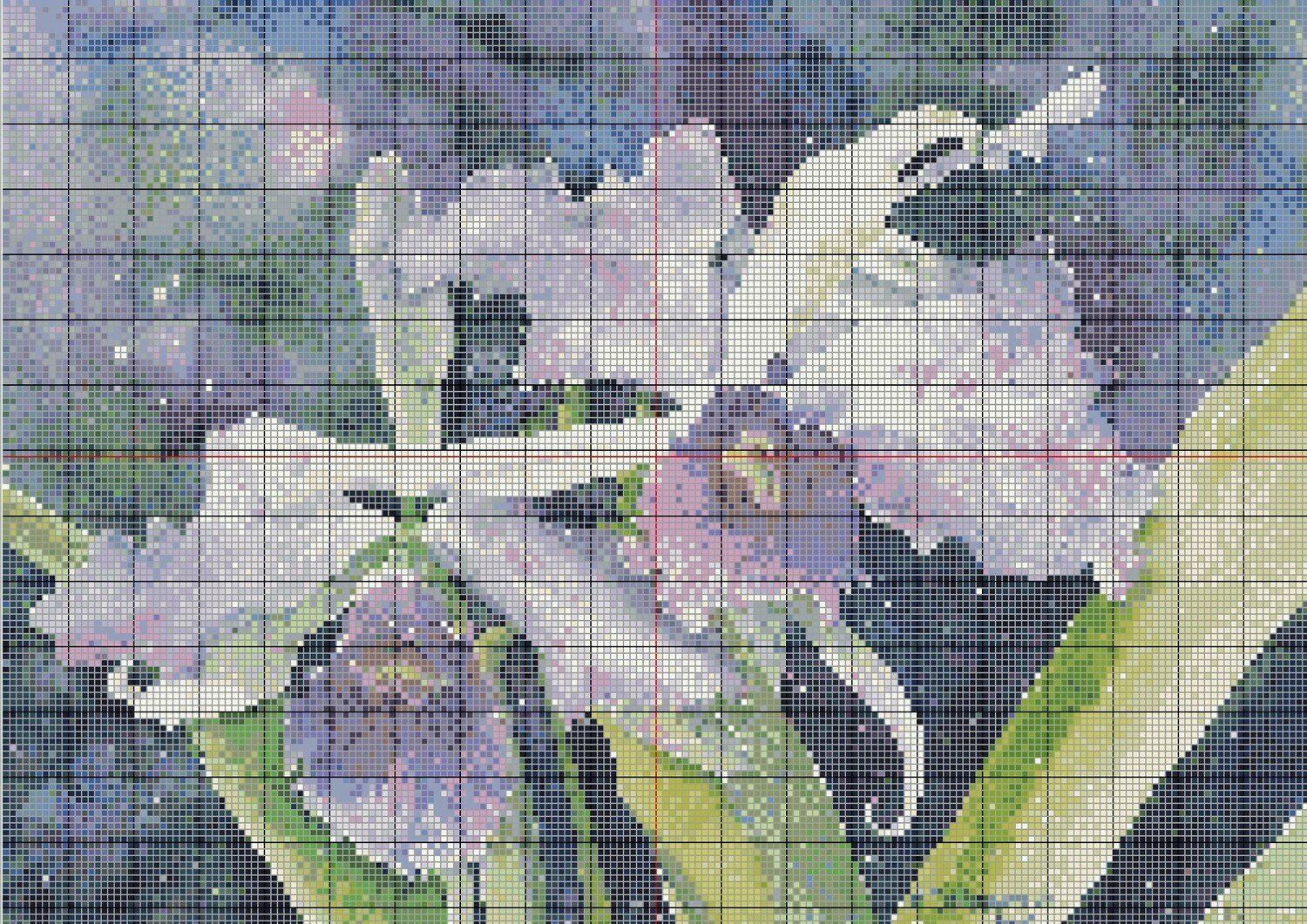 Beautiful Purple Orchids Cross Stitch - Pattern Only - Instant Digital Download