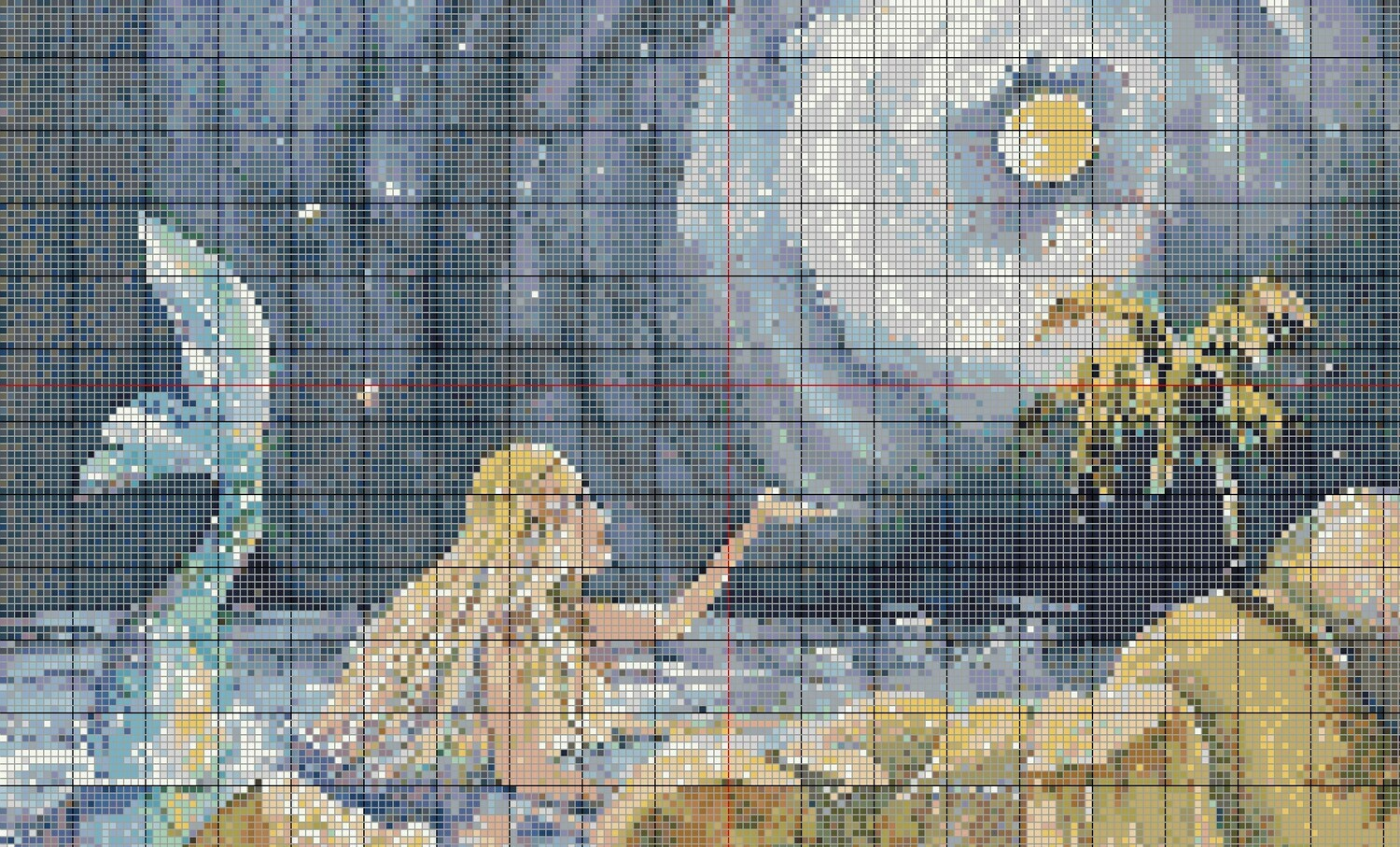 Moonglow Mermaid Cross Stitch - Pattern Only - Instant Digital Download