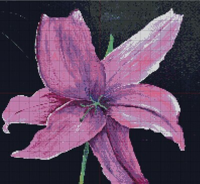 Beautiful Pink Lily Cross Stitch - Pattern Only - Instant Digital Download
