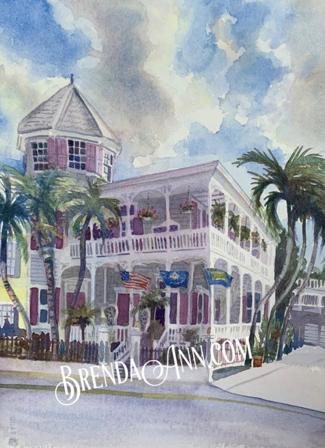 Artist House in Key West, FL - Hand Signed Archival Watercolor Print