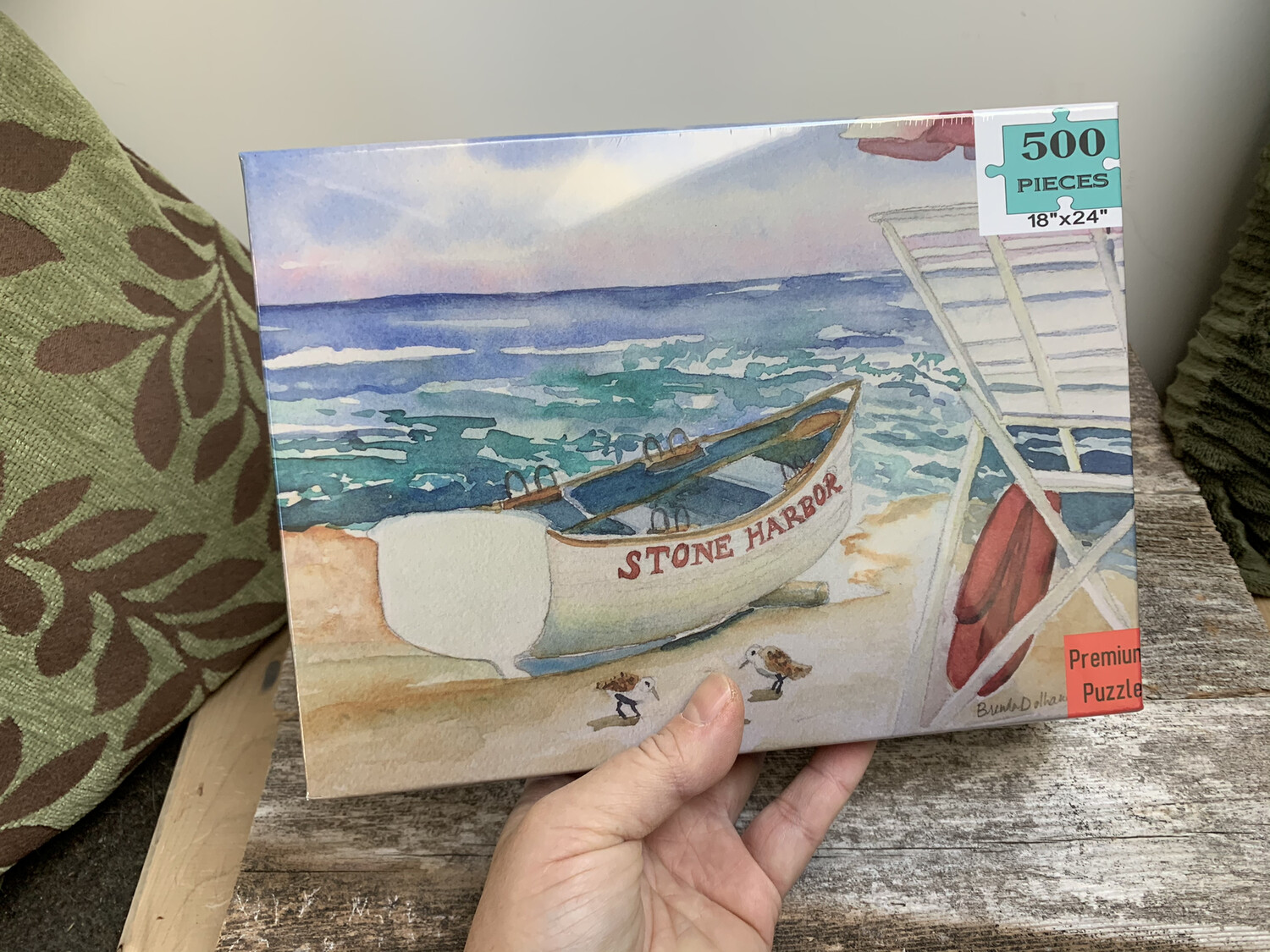 """Stone Harbor Puzzle - 500 Piece Puzzle - Lifeguard Boat on the Beach 18""""x24"""""""