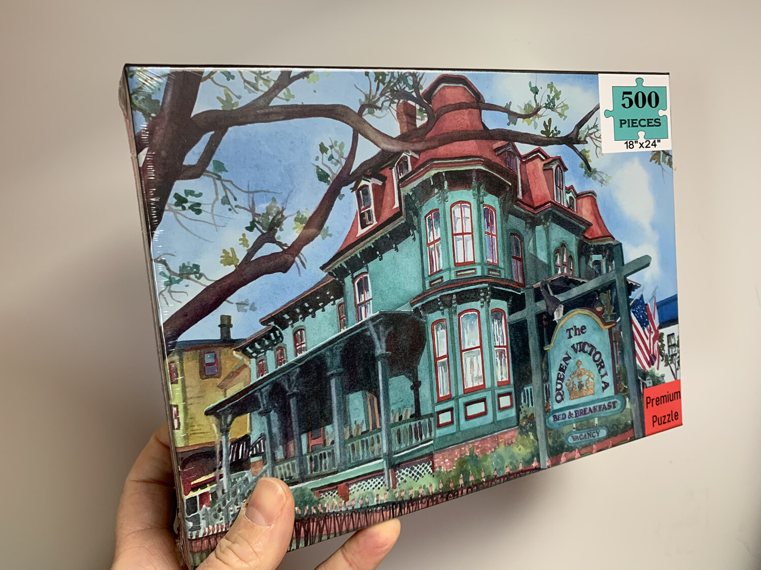 "Cape May Puzzle - 500 Piece Queen Victoria Bed & Breakfast Puzzle 18""x24"""