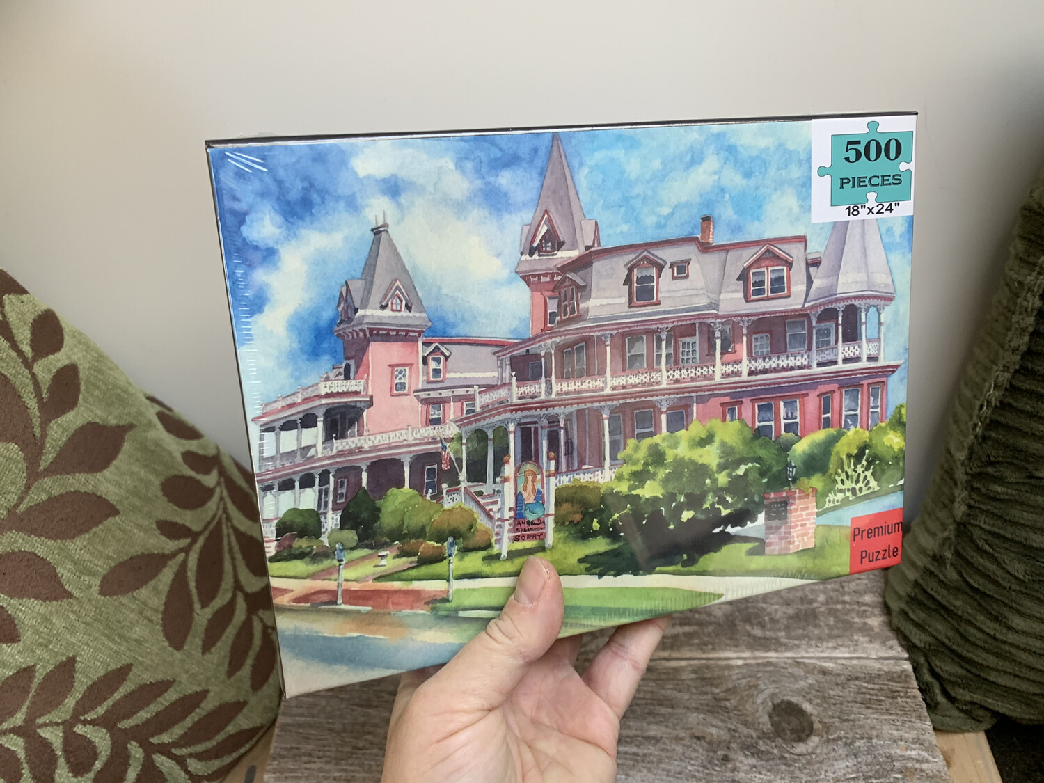 """Cape May Puzzle - 500 Piece Angel of the Sea Bed and Breakfast Puzzle 18""""x24"""""""