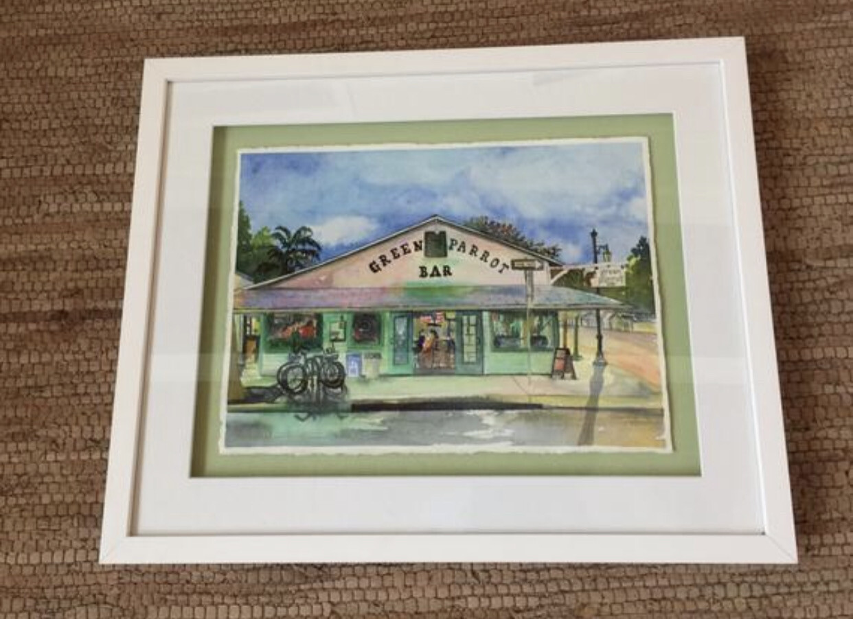 Green Parrot Bar in Key West - Hand Signed FRAMED ORIGINAL Watercolor Painting
