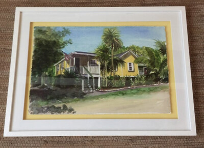 Yellow Cottage on Pigeon Key in Marathon Florida - Hand Signed FRAMED ORIGINAL Watercolor Painting