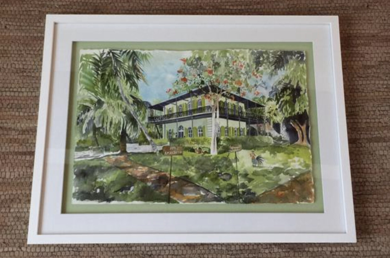 Ernest Hemingway Home & Museum in Key West, FL - Hand Signed FRAMED ORIGINAL Watercolor Painting