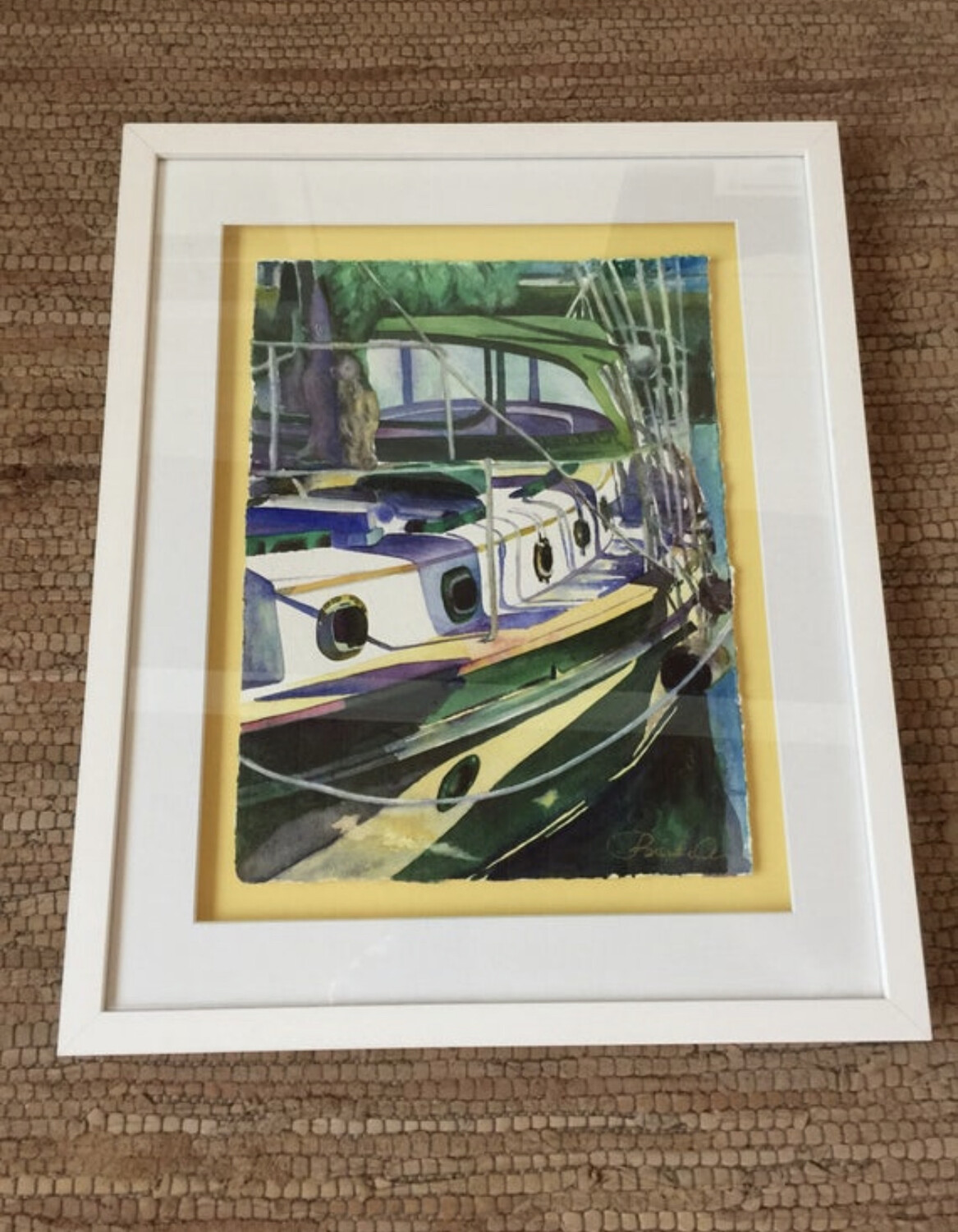 The Journey Sailboat in Marathon in the Florida Keys - Hand Signed FRAMED ORIGINAL Watercolor Painting