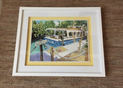 Little Palm Island Resort & Spa - Woodson Boat in the Florida Keys - Hand Signed FRAMED ORIGINAL Watercolor Painting